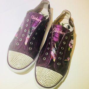 Skechers Tattoo Purple Shimmer Slip On Sneakers